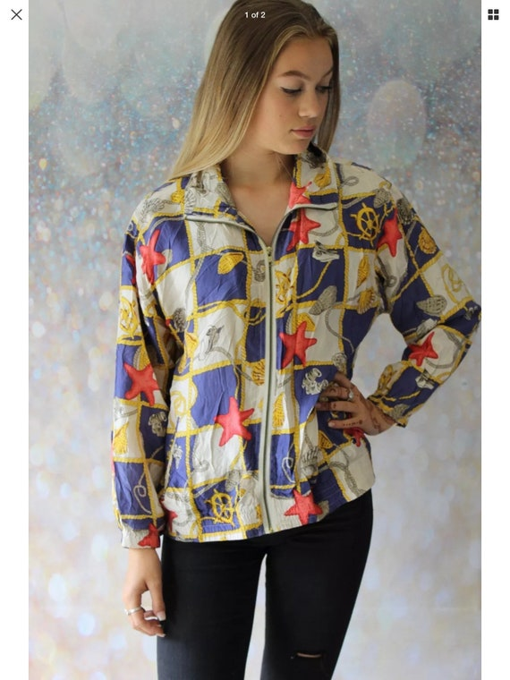 Vintage 100% silk bomber jacket