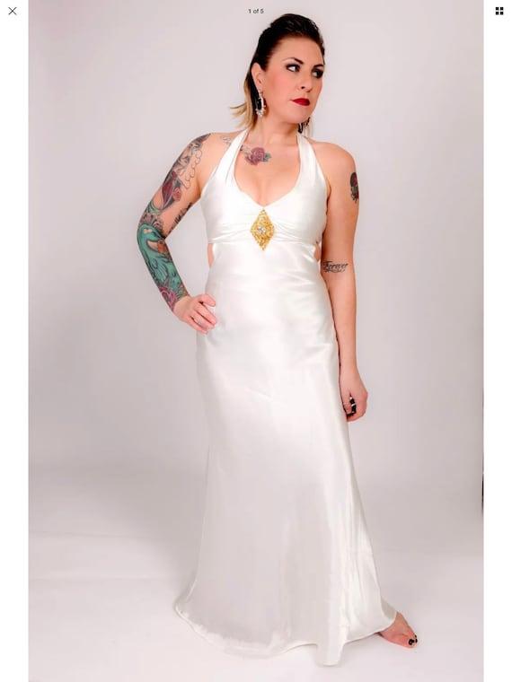 Stunning liquid satin wedding gown / evening dress