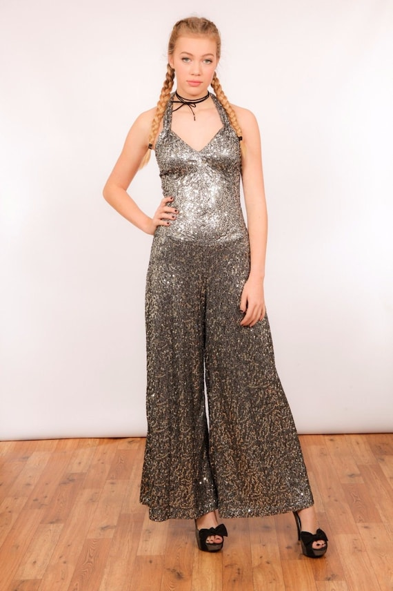 Vintage inspired silver sequin Palazzo jumpsuit ma