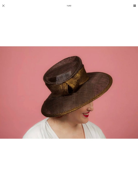 Ladies oversized brown and gold shimmer formal hat