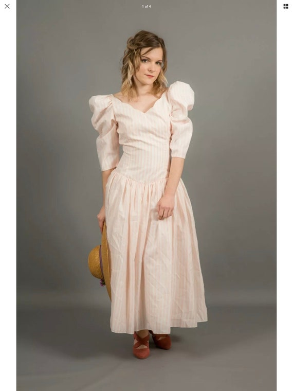 80s vintage Pale bink and white dress