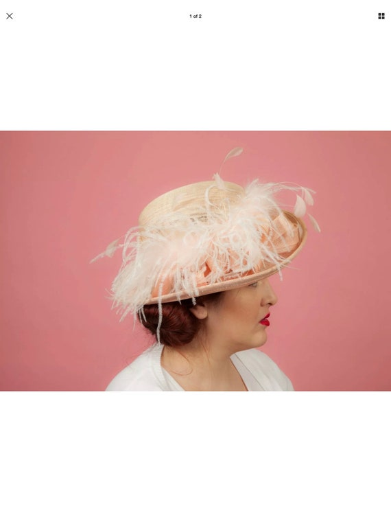 Blush cream feathered formal hat