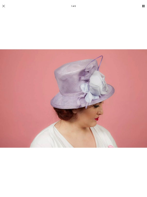 Ladies purple formal hat by Whitely