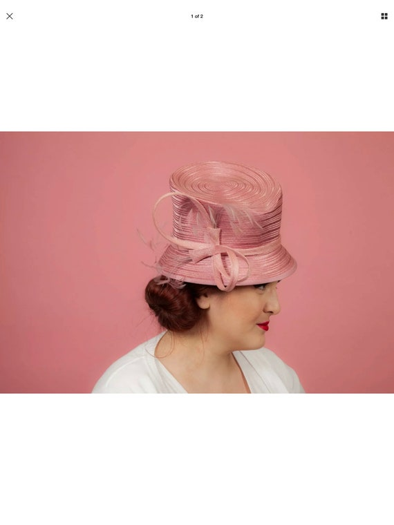Pink feathered formal bucket hat