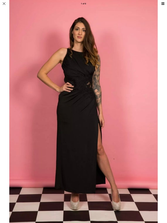 Black open panel evening gown