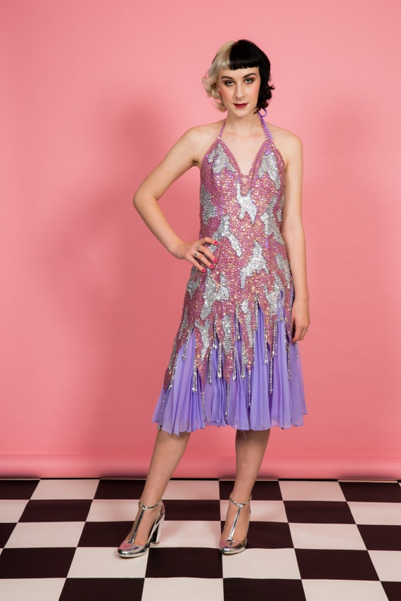1920s gatsby flapper style sequin beaded evening d