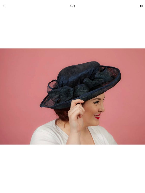 Navy blue silk covered formal hat