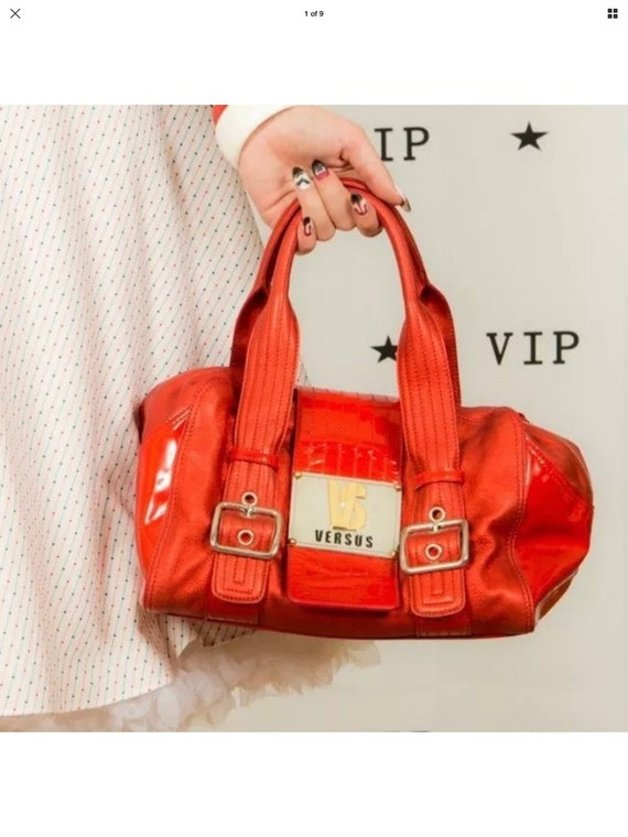 VERSUS metallic red leather & patent leather silve