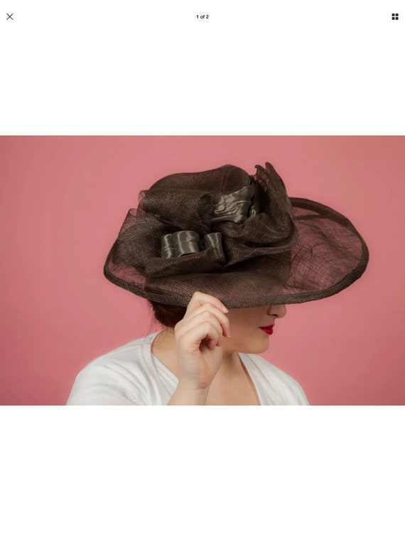 Oversized brown sinamay formal hat