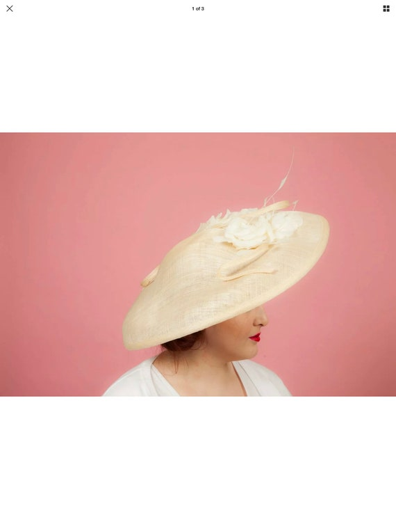 Oversized tweel feathered formal saucer hat with f