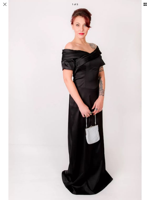 Beautiful BLACK SATIN off the shoulder evening dre