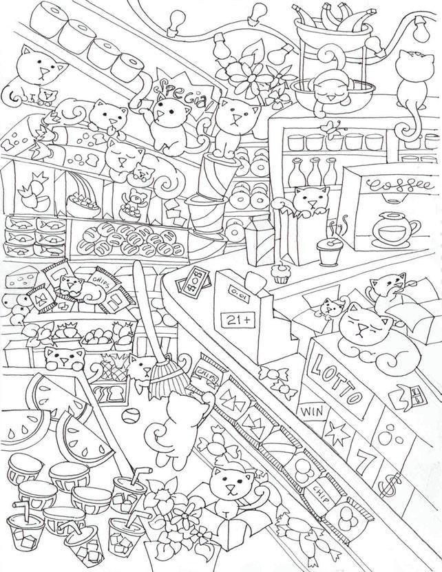 BODEGA de gatos para colorear Poster cartel de actividad | Etsy