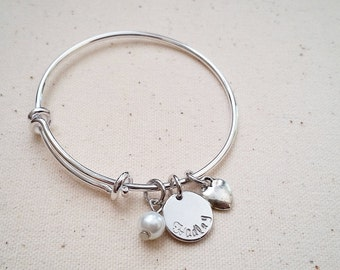 Little Girl's Hand Stamped Bangle - Matching Mom and Daughter bracelet, Name Bangle, Personalized Girl Jewelry