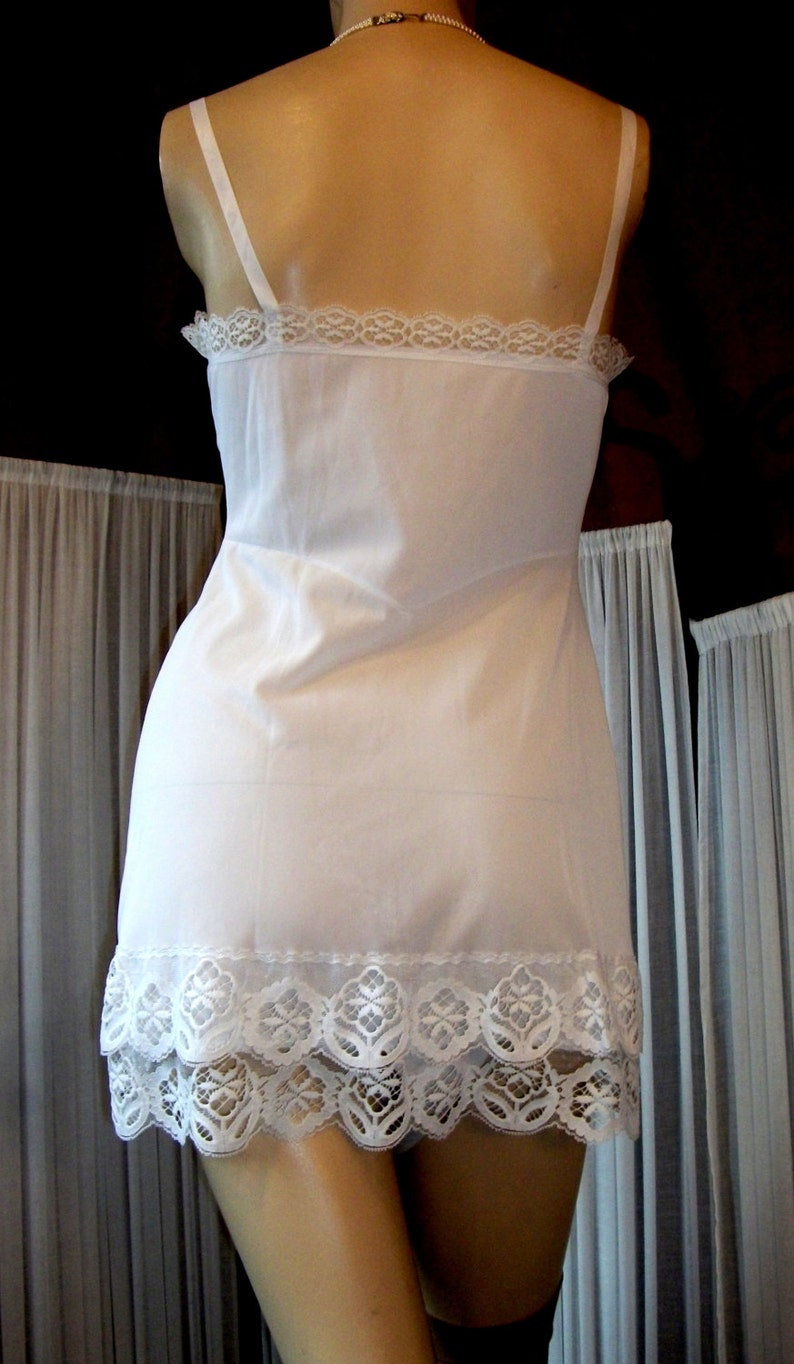 7f0c3a96fea Vintage Beautiful Pure White Silky Smooth Nylon   Lace Cami