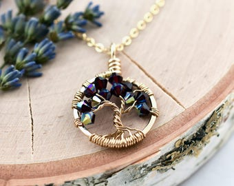 Golden Anniversary Necklace Gift for Wife, Birthstone Tree Necklace in Gold, January Birthstone