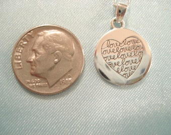 Vintage Like New Sterling Love Necklace Small Circle Pendant With Engraved Heart; Original Cost On Card