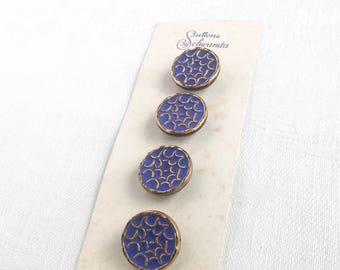 4 Glass Buttons Blue and Gold Schwanda Germany 17mm Vintage Sewing Buttons