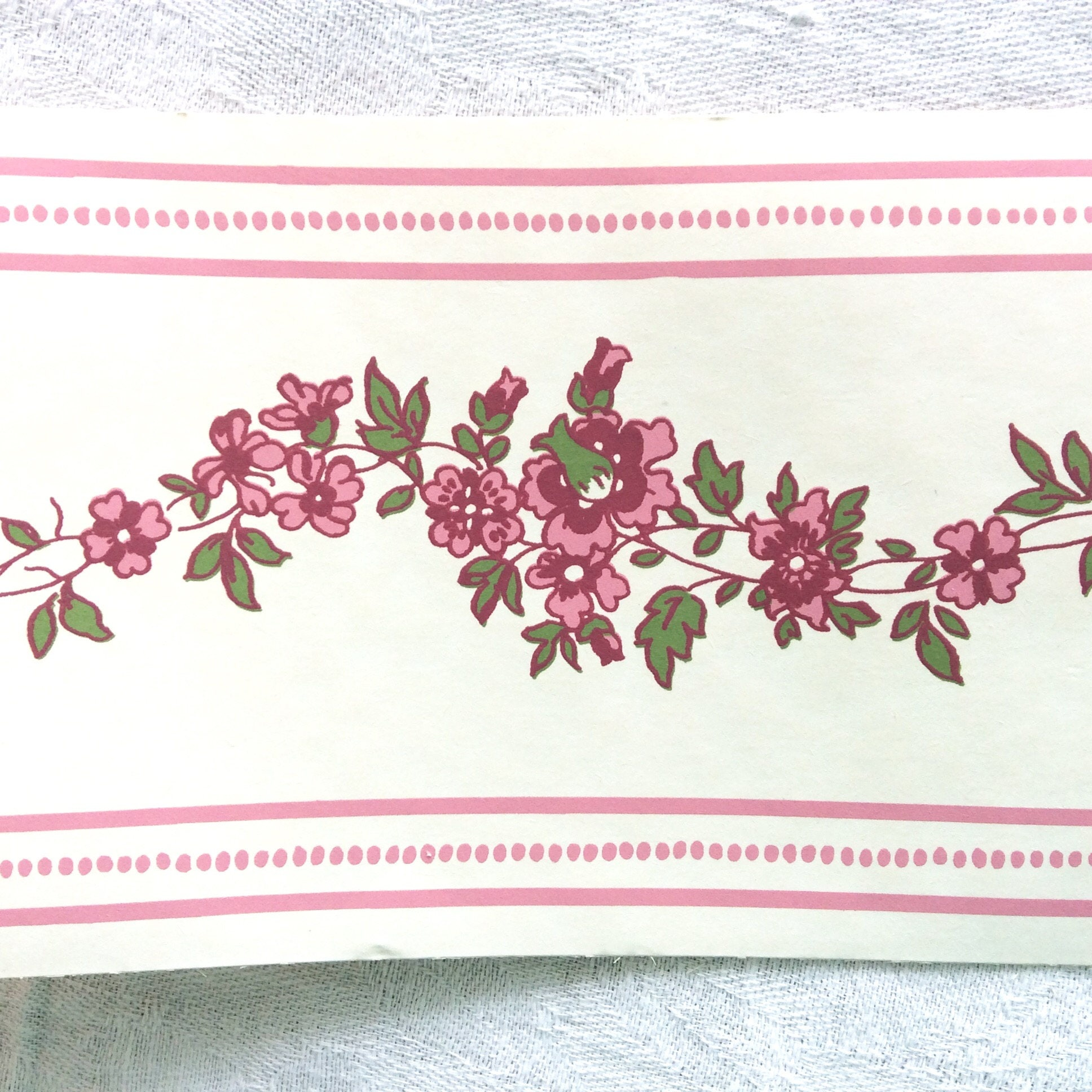 Laura Ashley Wallpaper Border 3 Rolls Pink Flowers Made In Etsy