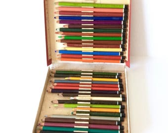 Colored Pencils Boxed Set of 33 Conte Pastel Pencils Made in France Vintage Pencils
