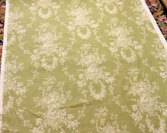 Linen Toile Fabric Green Country House by Waverly Cameo Toile de Jouy 9 Yards Decorator Upholstery Fabric