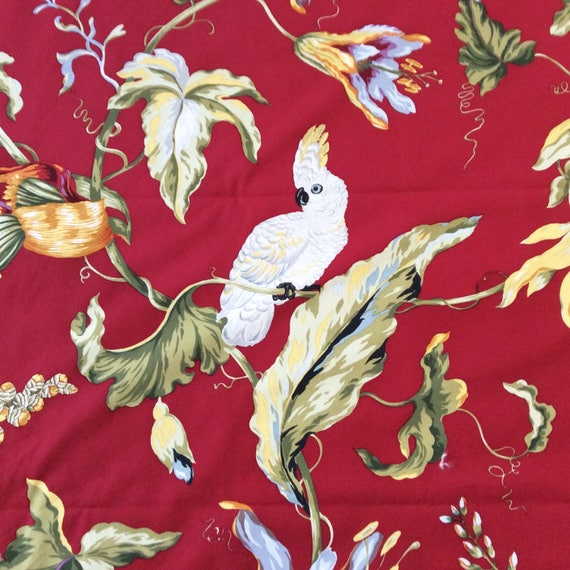 Ramms Fabric Made in England 5 Yards Red Pastoral Print English Chintz Fabric Les Animaux