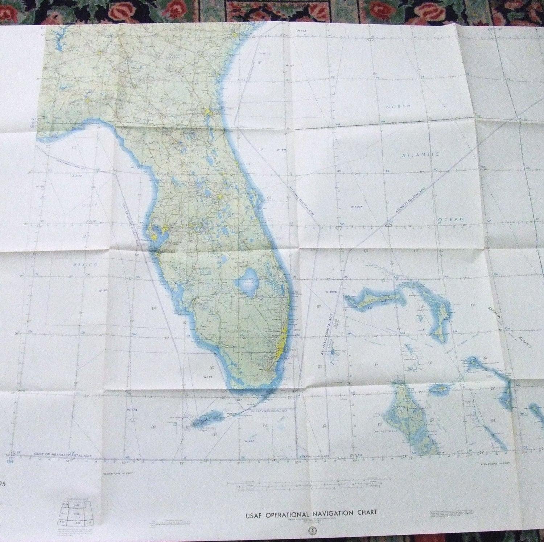 Full Map Of Florida.Large Wall Map Florida Bahamas Usaf Aeronautical Out Of Print Vintage Maps 1965