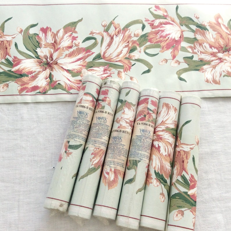 """Lot of 4 Vintage Wallpaper Border Leaves Flowers /& Fruit Made in USA 9/"""" x 5 yds"""