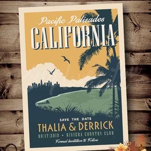 PRINTABLE Save The Date Mountain Wedding Announcement Rockies Colorado Destination Mountain Retro invite invitation vintage travel poster