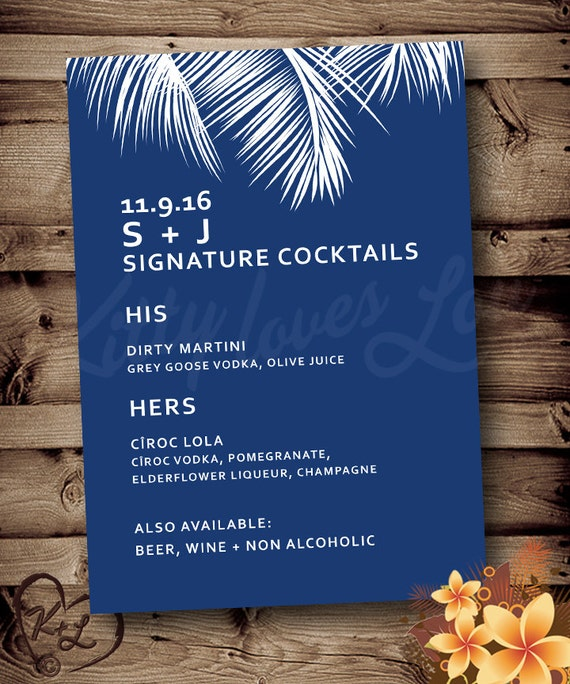 Printable Rehearsal Dinner or Cocktail Menu Invitation Invite Palm tree  Frond Wedding Destination Tropical Hawaiian Hawaii Bridal Blue Mod