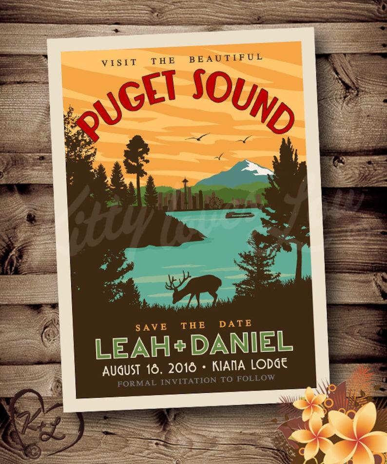 PRINTABLE Save The Date Puget Sound Wedding Destination Pacific Northwest Seattle Retro invite invitation vintage travel poster