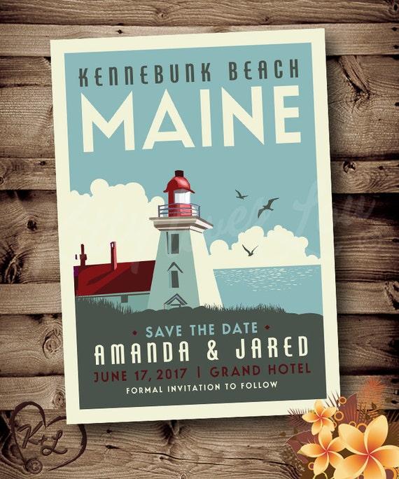 Printable Save The Date Maine Wedding Announcement Digital Pdf Destination Lighthouse Retro Art Deco Invite Invitation Vintage Travel Poster