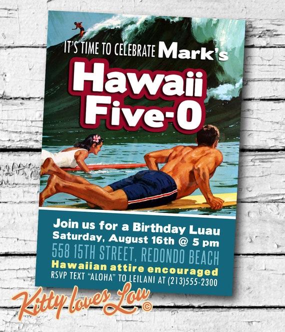 printable hawaii five 0 50th birthday party invitation digital etsy