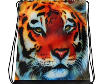 db2edde06a Tiger Drawstring Backpack With Black Drawstrings For Tiger Lovers