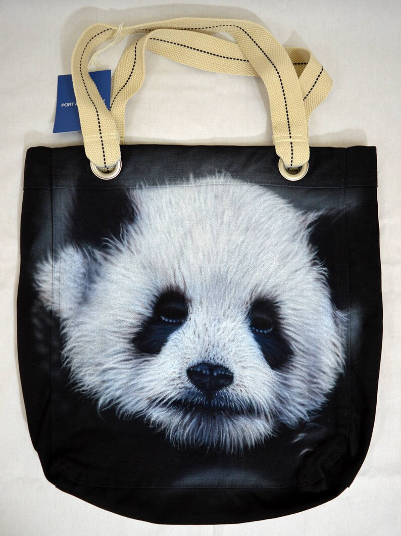 0f1449e74 Panda Bear Tote Bag black Cotton Canvas Airbrushed   Etsy