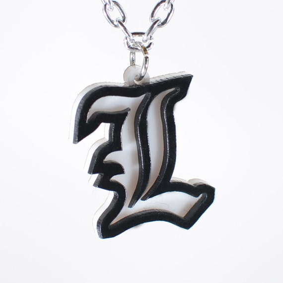 Death Note L Symbol Necklace Or Keychain Etsy