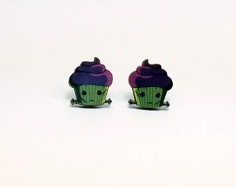 Frankenstein Monster Cupcake Earrings