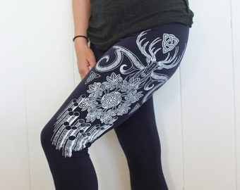 Celtic leggings - Ireland inspired - Book of Kells, beer hops and the Giant's Causeway. Trinity Yoga Leggings. White print on 4 colors.