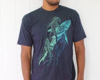 Great white shark shirt - mint/gold print on soft shirts. Bull shark and tiger shark shirt. Deep sea hawaii tee shirt. Diver tee.