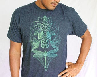 Lotus tee Shirt - Complex Geometric Design - Mint/gold print on soft shirts. Yoga tee. Dragonfly shirt. Bird tee geometry. Lotus flower tee.