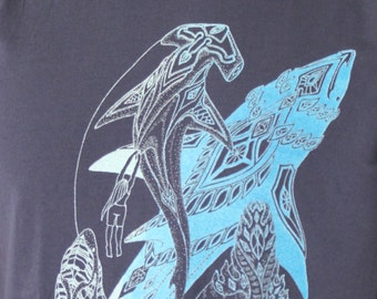 Deep sea shark tee shirt - Hammerhead, tiger, bull and great white tee shirt. Shark conservation shirt. Diver tee - Ghost/dark blue print
