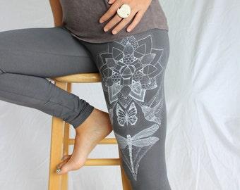 Dragonfly Leggings - Monarch Butterfly, Humming bird leggings. White screenprint on 4 colors. Magic Lotus leggings. Sacred geometry leggings