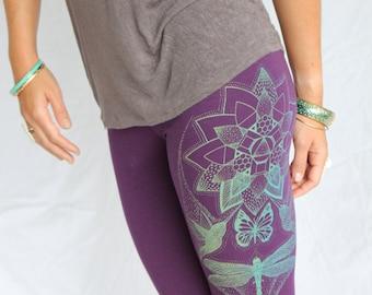 Lotus Yoga Leggings - Monarch Butterfly, Humming bird leggings. Mint Gold screenprint on 4 colors. Dragonfly leggings. Lotus flower leggings