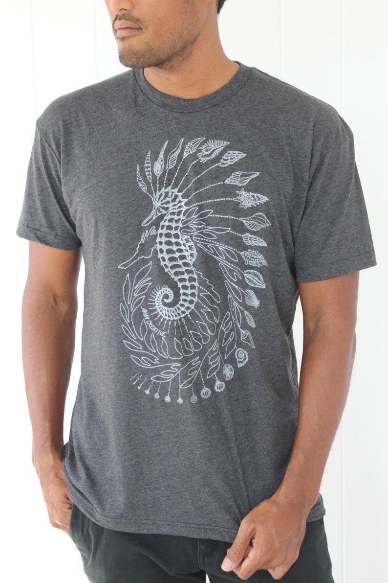 1d0a04d51b393a Seepferdchen und Seadragon T-Shirt weiß Siebdruck auf