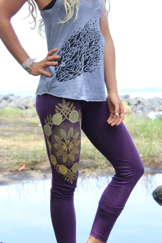 Lilikoi Yoga Leggings Passion Fruit Mandala Vines Fruit Etsy