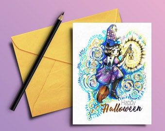 Hand Drawn Greeting Card Cute Halloween Anime Witch