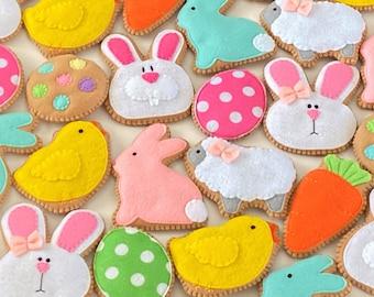 Easter Cookies Felt Ornaments - Easter Decorations - Felt Sugar Cookies - Play Cookies - Chick, Bunny, Egg Ornament