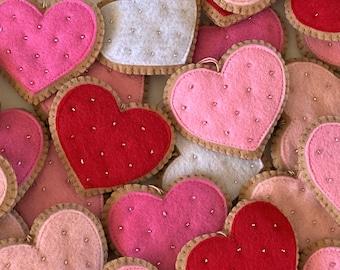 Felt Heart Ornament Valentine Decorations, Valentine's Day Decor - Valentine Cookies