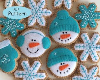 PDF Felt Christmas Ornaments Snowman, Snowflake Pattern - Felt Christmas Cookie Sewing Pattern