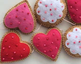 Felt Cookie Valentine's Day Garland -Valentine Decoration-Valentine's Day Garland--Felt Cookie-Valentine's Day Decoration-Felt Garland