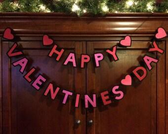 Felt and Satin Valentine's Day Banner-Happy Valentine's Day Garland-Happy Valentine's Day-Valentine's Day Decoration-Valentine Banner